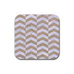 CHEVRON2 WHITE MARBLE & SAND Rubber Square Coaster (4 pack)  Front