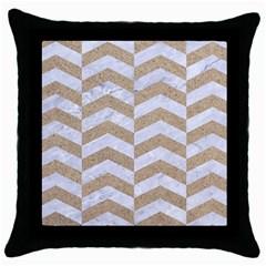 Chevron2 White Marble & Sand Throw Pillow Case (black)