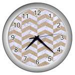 CHEVRON2 WHITE MARBLE & SAND Wall Clocks (Silver)  Front