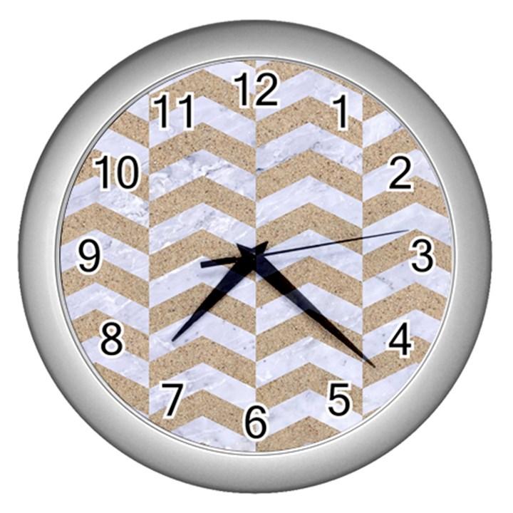 CHEVRON2 WHITE MARBLE & SAND Wall Clocks (Silver)