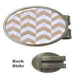 CHEVRON2 WHITE MARBLE & SAND Money Clips (Oval)  Front