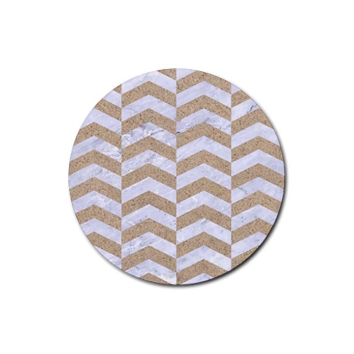 CHEVRON2 WHITE MARBLE & SAND Rubber Coaster (Round)