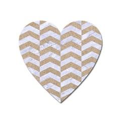 Chevron2 White Marble & Sand Heart Magnet