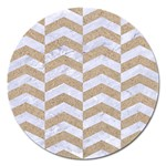 CHEVRON2 WHITE MARBLE & SAND Magnet 5  (Round) Front