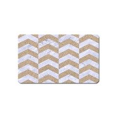 Chevron2 White Marble & Sand Magnet (name Card)