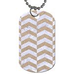 CHEVRON2 WHITE MARBLE & SAND Dog Tag (Two Sides) Front
