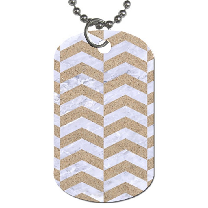 CHEVRON2 WHITE MARBLE & SAND Dog Tag (Two Sides)