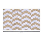 CHEVRON2 WHITE MARBLE & SAND Business Card Holders Front