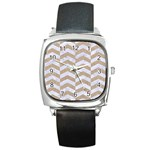 CHEVRON2 WHITE MARBLE & SAND Square Metal Watch Front