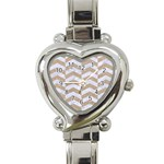 CHEVRON2 WHITE MARBLE & SAND Heart Italian Charm Watch Front