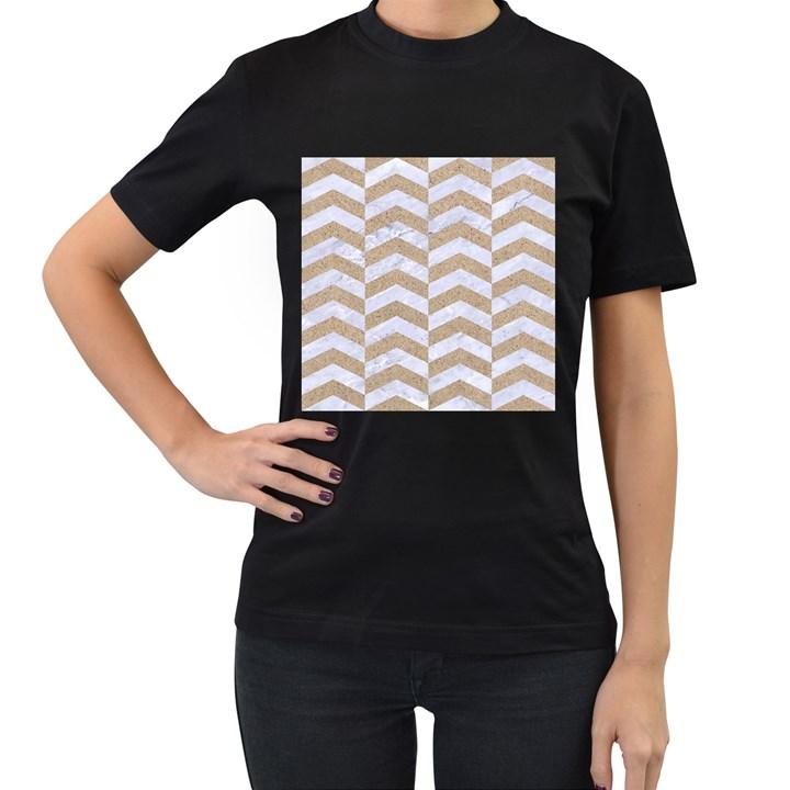 CHEVRON2 WHITE MARBLE & SAND Women s T-Shirt (Black) (Two Sided)