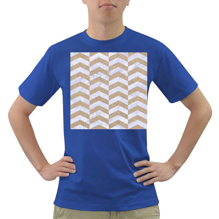 CHEVRON2 WHITE MARBLE & SAND Dark T-Shirt