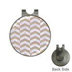 CHEVRON2 WHITE MARBLE & SAND Hat Clips with Golf Markers Front