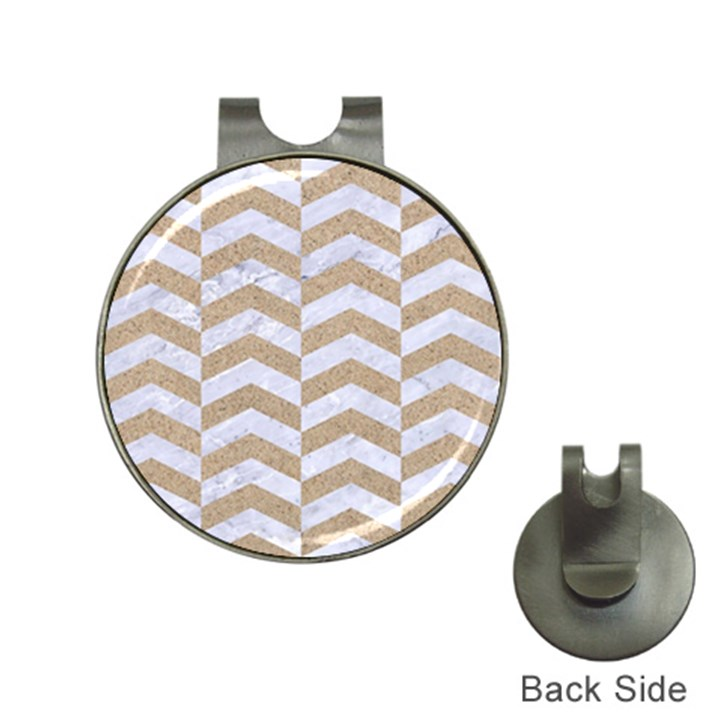 CHEVRON2 WHITE MARBLE & SAND Hat Clips with Golf Markers