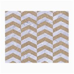 CHEVRON2 WHITE MARBLE & SAND Small Glasses Cloth Front