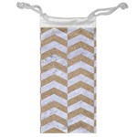 CHEVRON2 WHITE MARBLE & SAND Jewelry Bag Front