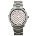 CHEVRON2 WHITE MARBLE & SAND Sport Metal Watch Front