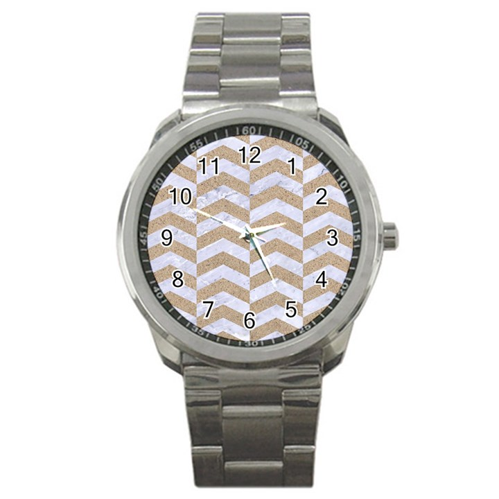 CHEVRON2 WHITE MARBLE & SAND Sport Metal Watch