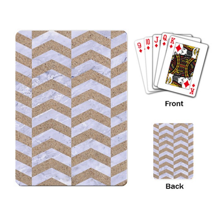 CHEVRON2 WHITE MARBLE & SAND Playing Card