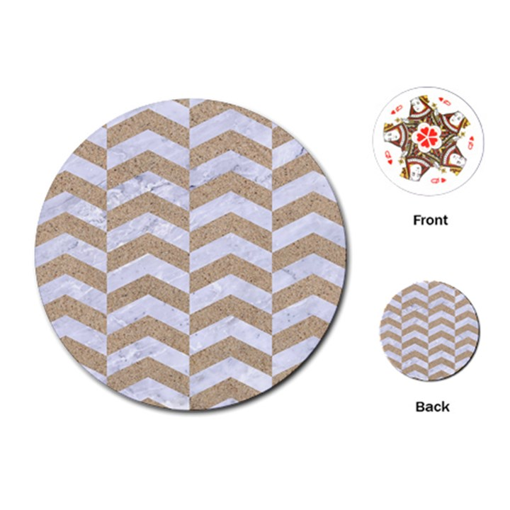 CHEVRON2 WHITE MARBLE & SAND Playing Cards (Round)