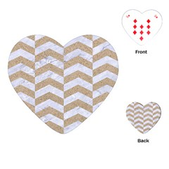 Chevron2 White Marble & Sand Playing Cards (heart)