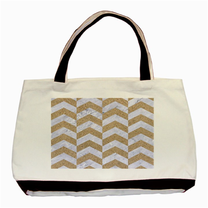 CHEVRON2 WHITE MARBLE & SAND Basic Tote Bag