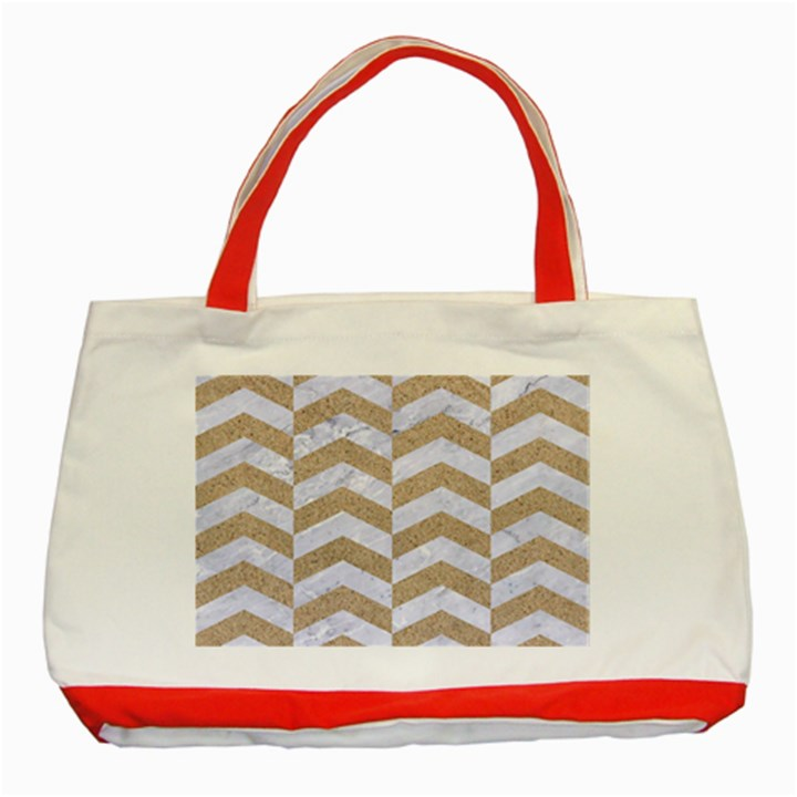 CHEVRON2 WHITE MARBLE & SAND Classic Tote Bag (Red)