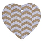 CHEVRON2 WHITE MARBLE & SAND Heart Ornament (Two Sides) Front