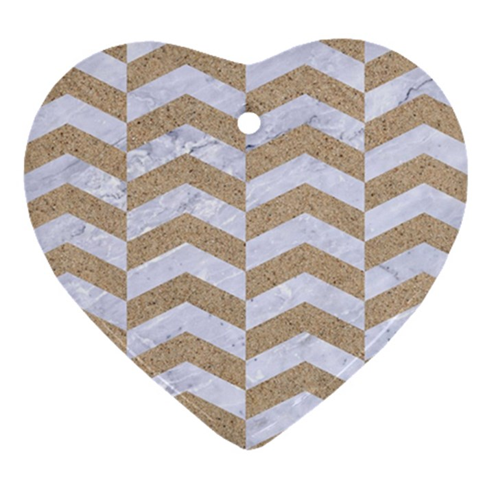CHEVRON2 WHITE MARBLE & SAND Heart Ornament (Two Sides)