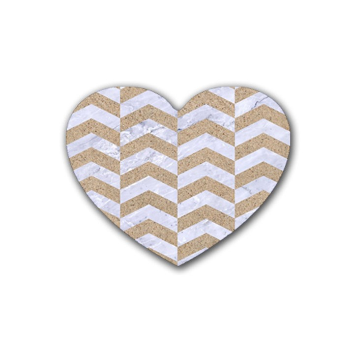 CHEVRON2 WHITE MARBLE & SAND Rubber Coaster (Heart)