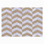 CHEVRON2 WHITE MARBLE & SAND Large Glasses Cloth Front