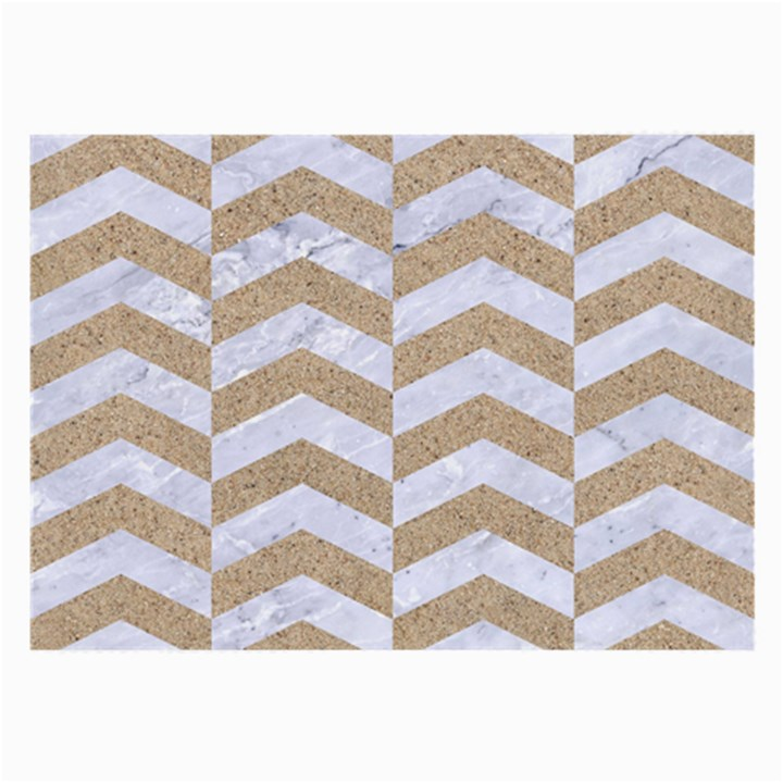 CHEVRON2 WHITE MARBLE & SAND Large Glasses Cloth (2-Side)
