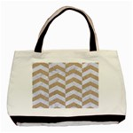 CHEVRON2 WHITE MARBLE & SAND Basic Tote Bag (Two Sides) Front