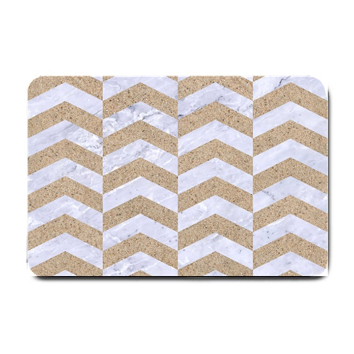 CHEVRON2 WHITE MARBLE & SAND Small Doormat