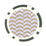 CHEVRON2 WHITE MARBLE & SAND Poker Chip Card Guard Front