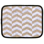 CHEVRON2 WHITE MARBLE & SAND Netbook Case (Large) Front