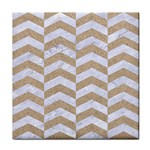 CHEVRON2 WHITE MARBLE & SAND Face Towel Front