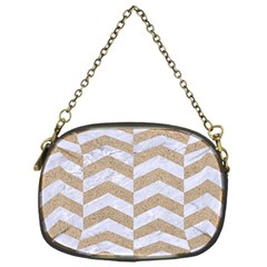 Chevron2 White Marble & Sand Chain Purses (one Side)