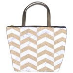CHEVRON2 WHITE MARBLE & SAND Bucket Bags Front