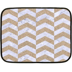 Chevron2 White Marble & Sand Double Sided Fleece Blanket (mini)