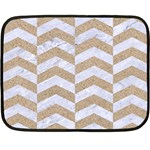 CHEVRON2 WHITE MARBLE & SAND Double Sided Fleece Blanket (Mini)  35 x27 Blanket Back