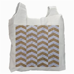 Chevron2 White Marble & Sand Recycle Bag (two Side)