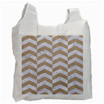 CHEVRON2 WHITE MARBLE & SAND Recycle Bag (Two Side)  Front