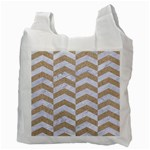 CHEVRON2 WHITE MARBLE & SAND Recycle Bag (Two Side)  Back