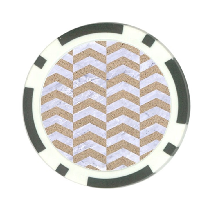 CHEVRON2 WHITE MARBLE & SAND Poker Chip Card Guard (10 pack)
