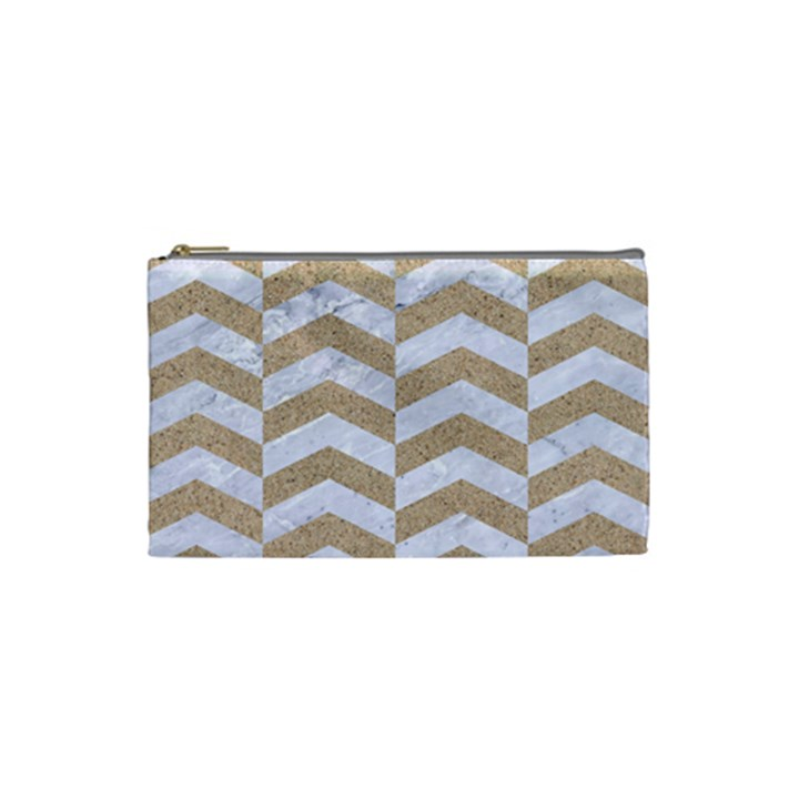 CHEVRON2 WHITE MARBLE & SAND Cosmetic Bag (Small)