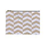 CHEVRON2 WHITE MARBLE & SAND Cosmetic Bag (Large)  Front
