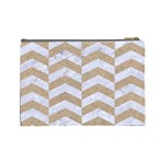 CHEVRON2 WHITE MARBLE & SAND Cosmetic Bag (Large)  Back