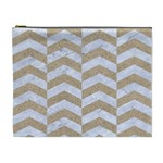 CHEVRON2 WHITE MARBLE & SAND Cosmetic Bag (XL) Front