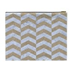 CHEVRON2 WHITE MARBLE & SAND Cosmetic Bag (XL) Back